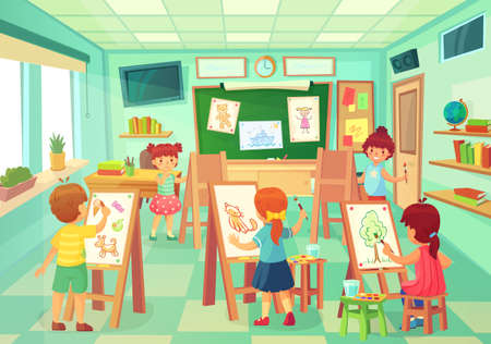 Kids drawing in art class. Vector art education class, illustration of drawing, children school doing lesson painting by pencil and brush
