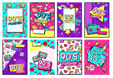 Retro 90s poster. Nineties forever, funky 1990s music night party posters and pop flyer card vector set. 1990s pattern entertainment invitation with cassette and memphis pattern illustration