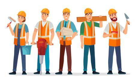 Professional builders team. Contractor in helmet, builder engineer and workers people cartoon vector illustration. Contractor and builder, construction engineer occupation 일러스트