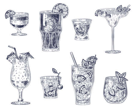 Sketch cocktails. Alcoholic drinks, cocktails. Pina colada, americano and vodka, cherry cocktail and margarita, sangria for menu vector set. Alcohol cocktail, drink margarita and beverage illustration Ilustracja
