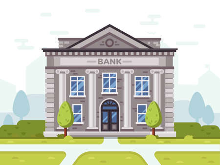 Bank or goverment building. Architecture business house in city, government financial structure, vector illustration