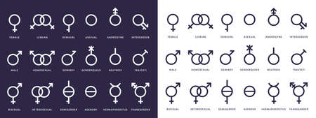 Gender symbol icons. Genderqueer, transgender and lesbian, bisexual pictograms. Lgbt, demiboy and gay, heterosexual vector isolated signs. Female and male gender, sexual transgender illustration Illustration