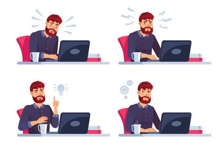 Man working on laptop. Man work at computer, business character in office, programmer at workspace. Vector illustration Illustration