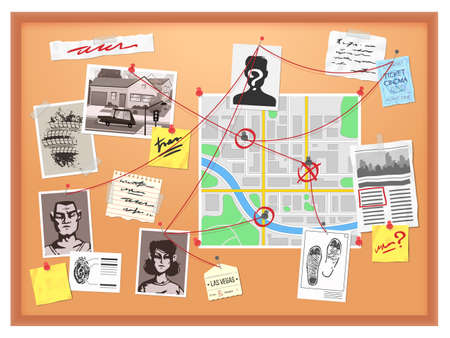 Detective board. Cops crime investigation plan, board with pinned photos, newspapers and notes, map structural analysis vector illustration. Plan detective investigation board