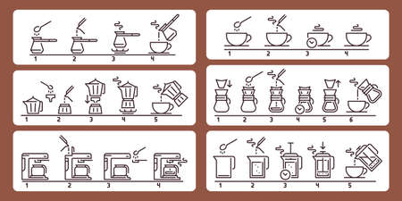 Brewing coffee instruction. Preparing hot beverage guideline, using equipment for making drink. Pouring liquid from cezve or pot, using coffee machine step tutorial vector illustration