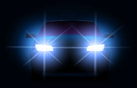 Car lights. Night urban scene with automobile or vehicle silhouette with bright shining headlights. Auto front view in darkness.Transport race at night time, glowing vector illustration