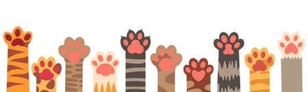 Colorful cat paws set. Cute feline claws with stripes and dots isolated on white background. Domestic animal clutches, furry and clawed pets or kittens footprint in row vector illustration