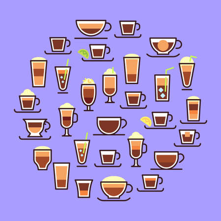 Types of coffee. Hot drinks in glass cups with milk. Espresso, macchiato and latte with cream. Recipe and proportions of making tasty coffee. Composition for restaurant menu or advertisement