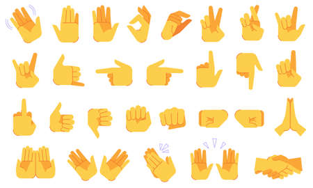 Emoji hand gestures. Different hands signals and signs, ok and victory, peace and handshake, applause, gesture symbols vector icons set for communication or chatting in social networks