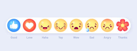 Emoticon emoji reactions. Social chat message mood buttons. Thumb up, love heart and haha, yay. Wow, sad and angry, thanks vector icons. Crying and smiling yellow faces and facial expressions