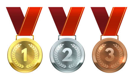 Gold, silver and bronze medals. First, second and third place awards, realistic round medals on red ribbons, championship reward vector set. Achievement for winner in competition or contest