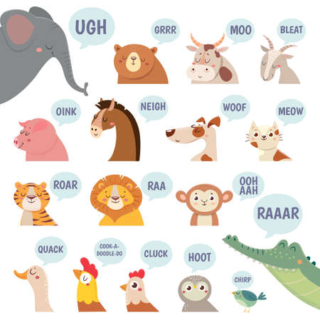 Animals sounds. Cute animal making sounds cat and dog, sheep and cow, pig and hen, horse and lion, bear and monkey cartoon vector set for childrens books and magazines. Farm animals and pets