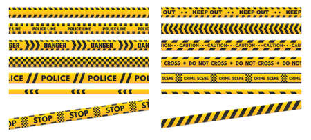 Caution perimeter stripes. Police line for crime scenes or danger. Black and yellow do not cross and keep out warning tapes isolated on white background. Lines for repair work illustration