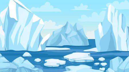 Cartoon arctic landscape. Icebergs, blue pure water glacier and icy cliff snow mountains. Greenland polar nature panoramic vector background. Winter scene with hills and melting ice