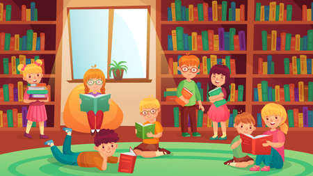 Kids in library reading books. Girls and boys learning, getting knowledge. Young students doing homework, studying. Children bookworms, preschool education, elementary pupils vector illustration Ilustracja