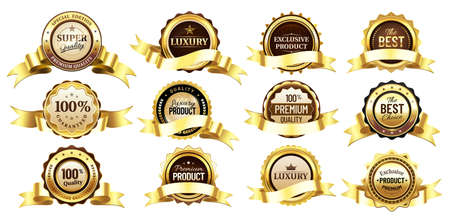 Luxury golden badges with tapes or ribbons. Reward for premium or super quality. Best choice, exclusive product. Gold labels for shop business, round seal icon template vector illustration