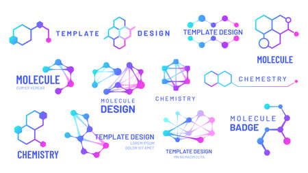 Molecule logos. Chemistry and science   with hexagonal structure and molecular grids templates. Biological model, dna molecule connection isolated on white vector illustration