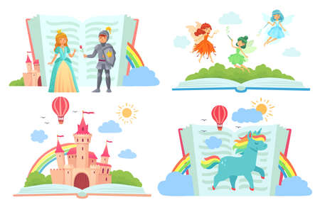 Open books with fairy tales characters. Kingdom with castle, royal knight giving rose to princess. Cute fairies flying with magic wands in dresses with wings. Unicorn with rainbow vector illustration Ilustracja