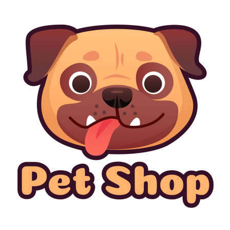 Pet shop  design with pug face. Dog store selling goods and accessories for domestic animals. Cute puppy head with tongue with lettering isolated on white background vector illustration