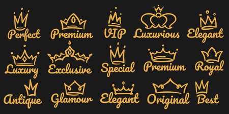 Sketch golden luxurious and exclusive, special and glamour diadems. Crowns with different decoration for vip or royal person logotype. Queen, king accessory vector illustration