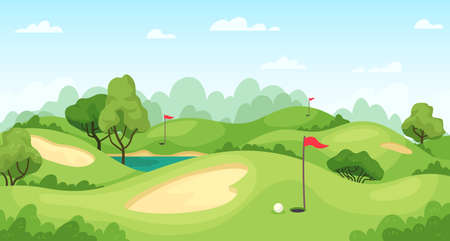Golf course. Green landscape with flags and sand ground, golf cart on lawn, course for tournament game golf, cartoon vector background Ilustracja