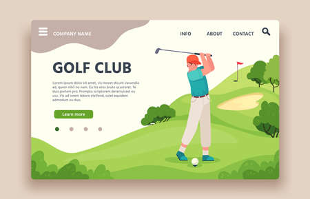 Golf club web site. Sports club with green play field, holes with flagsticks, sand traps, golf cart, golfing school landing vector page. Man player with equipment as stick and ball Ilustracja