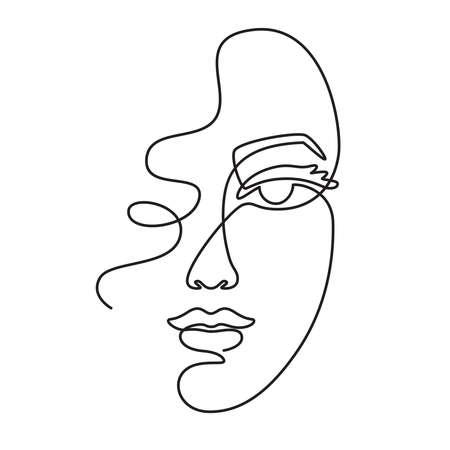 One line face. Minimalist continuous linear sketch woman face. Female portrait black white artwork outline vector hand drawn illustration. Modern art girl head for beauty salon Illustration