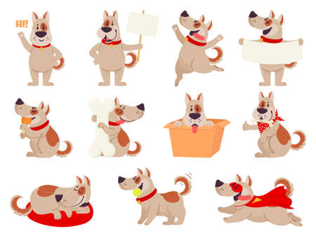 Cartoon dog mascot. Cute dogs in different action and emotion, happy smile friendly behavior pet, character funny avatar vector set. Puppy playing with ball, sitting in box, sleeping, eating Illustration