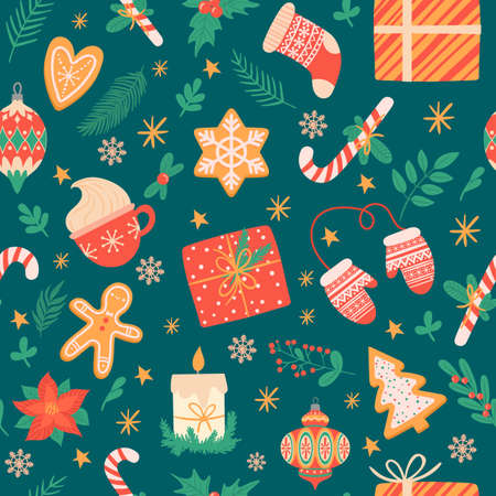 Christmas seamless pattern. Traditional xmas attributes, christmas tree toys, gingerbread, presents for cards and wrapping vector texture. New year cup with hot chocolate, holly leaves with berries Illustration