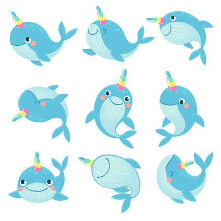 Whale unicorn. Cute marine inhabitants colorful adorable whales unicorns, funny animals childrens anime creatures, cartoon vector characters. Narwhal with colorful horn isolated on white