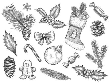 Sketch decoration xmas set. Christmas and happy new year symbols. Sock and gift, gingerbread, holly fir branches, pine cone vector elements. Hand drawn sweet, christmas ball, candy cane