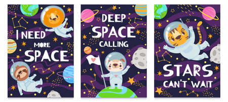 Animal in space. Hand drawn cute funny animals in spacesuit, futuristic poster with lettering, children print cartoon backgrounds. Raccoon, dog, tiger and lion, deep space calling Ilustracja