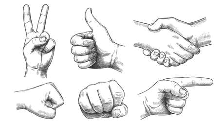 Hand drawn gestures. Pointer finger, strong fist and punch. Handshake, thumb up like and triumph victory gesture sketch vector illustration set. Engraved hand signals and signs for communication