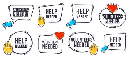 Volunteers needed banner. Help needed label with heart, helping hand and advertising horn loudspeaker icon. Volunteer search speech bubble banner frame vector set. Charity work service symbol