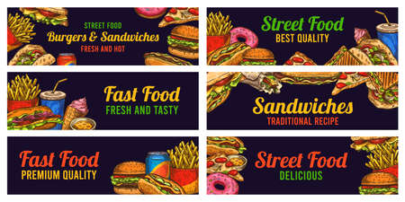 Fast food banners. Sketch hamburger and hot dog, pizza and fries, burger, donuts and cola, advertising restaurant advertising vector set. Hand drawn food sandwiches. ice cream. Best quality, tasty Ilustracja