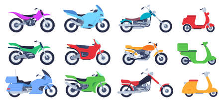 Flat motorbike. Biker motorcycles, city delivery scooters and road bikes. Retro choppers, sport motorcycle and motor side view vector illustration set. Scooter vehicle for transportation