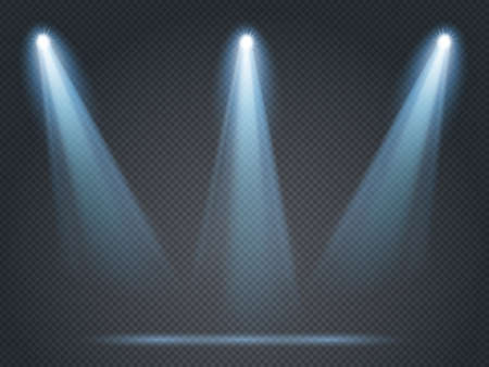 Floodlight shining with white light on corners and middle for stage, scene or podium. Illumination from projector isolated on transparent background. Bright glowing illustration