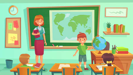 Geography class, teacher and pupils in room. Schoolboy showing country on globe. Woman teaching geography lesson with map on blackboard. School with children, education concept vector illustration