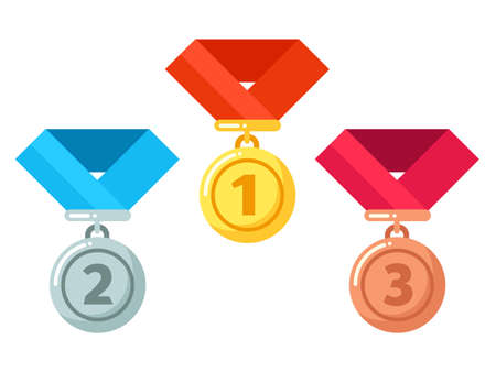 Gold, silver, bronze medals with ribbon. Reward for winner or champion in competition. Getting award for first, second and third place, achievement icon in contest illustration