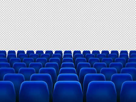 Isolated blue armchairs for cinema, theatre or opera. Realistic row with chairs for watching movie, seats facing transparent background, movie hall with empty scene illustration