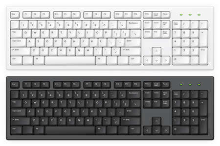 Keyboard. PC white and black key buttons with English qwerty alphabet realistic illustration isolated template for device and desktop board. Light and dark abc buttons, equipment for typing on computer Vettoriali