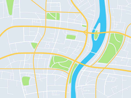 City map. Gps navigation plan, town streets with park and river, abstract direction road topographic map, planning travel, vector image. Crossroads with districts and blocks illustration
