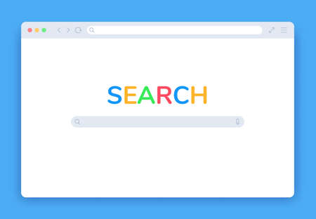 Internet search window. Browser search engine page, blank website tab, searching screen panel homepage isolated flat vector template. Network page with icon elements in frame for computer