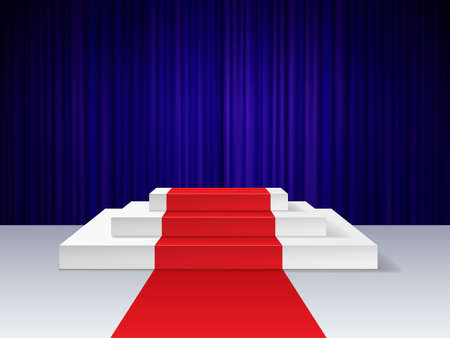 Red carpet to podium. Realistic empty pedestal for award ceremony with illumination, platform for show, cinema presentation concept. Dark curtains on background, night event Ilustracja