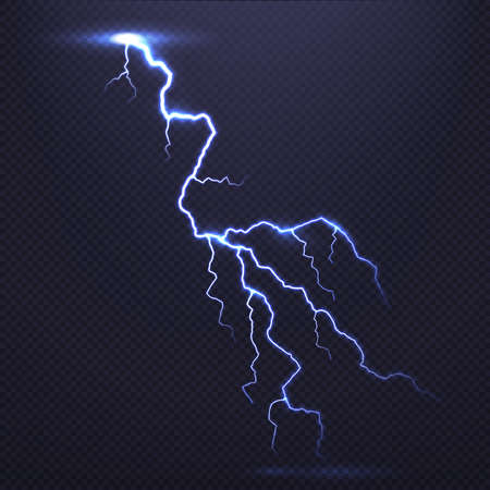 Lightning, natural light effect, bright glowing isolated on dark background. Magic thunderstorm. Flash bolt or thunderbolt with sparks, power blast storm transparent backdrop vector illustration