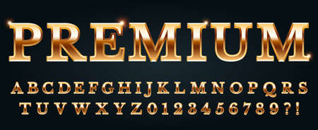 Premium golden font. Luxury alphabet, numbers and punctuation marks. Metal gold chic and glossy typography with glowing effect. Latin letters isolated on black background vector illustration