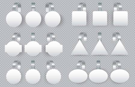 Sales tags wobblers on bended transparent stripe. White round, square, triangle and oval shape or tag for supermarket or shop advertising on shelves, 3d realistic tag set vector illustration Ilustração