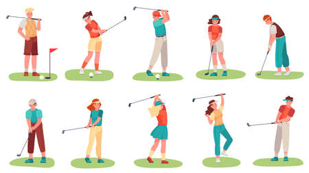 Golf playing. Men and women training with golf clubs on green grass, sport hobby players golfer in uniform, cartoon set vector illustration. Male and female character in different position