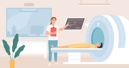 Magnetic resonance imaging. Patient having scan procedure in hospital with doctor examining results tomography, x ray scanner vector concept. Diagnosing body parts using MRI, health care
