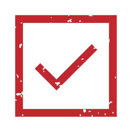 Check mark rubber stamp. Accepted red steal in square frame imprint with scratched texture. Rubber sign with border, approve or verifying element in box isolated on white vector illustration